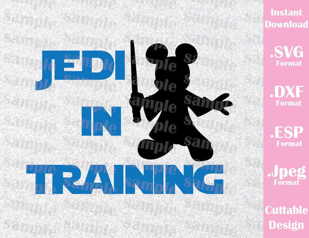 Mickey Jedi in Training Star Wars Disney Inspired Cutting File in SVG, ESP, DXF and JPEG Format