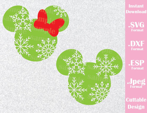 Mickey and Minnie Mouse Ears Snow Christmas Disney Inspired Cutting File in SVG, ESP, DXF and JPEG Format