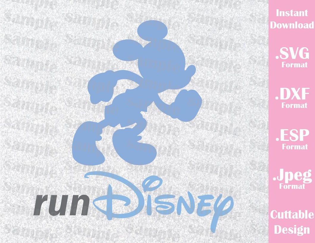 Run Disney Mickey Mouse Disney Inspired Cutting File in SVG, ESP, DXF and JPEG Format