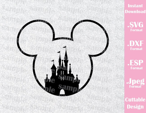 Mickey Mouse Castle Ears Disney Inspired Family Vacation Cutting File in SVG, ESP, DXF and JPEG Format