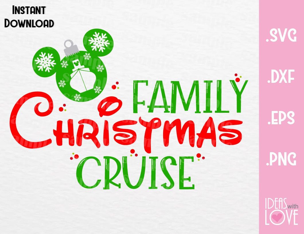 Mickey Ears Christmas Family Cruise Inspired SVG, EPS, DXF, PNG Format