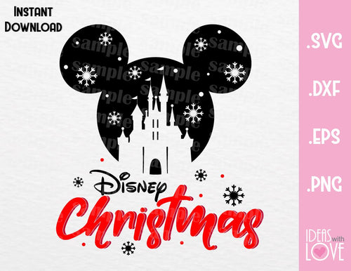 Castle Mickey Ears Disney Christmas Inspired SVG, EPS, DXF, PNG Format