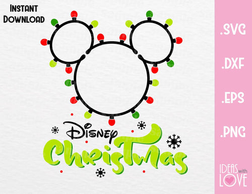 Mickey Ears Disney Christmas lights Inspired SVG, EPS, DXF, PNG Format