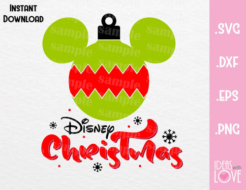 Mickey Ears Bauble Disney Christmas Inspired SVG, EPS, DXF, PNG Format