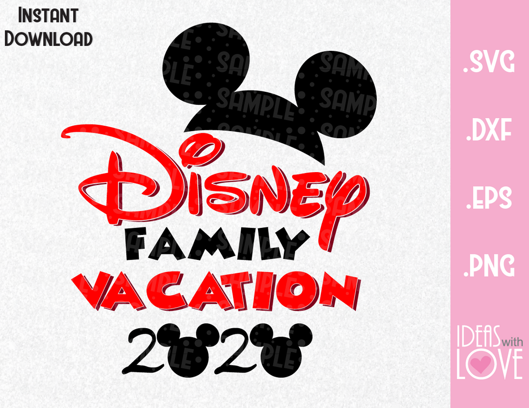 Mickey Ears 2020 Vacation Inspired SVG, EPS, DXF, PNG Format