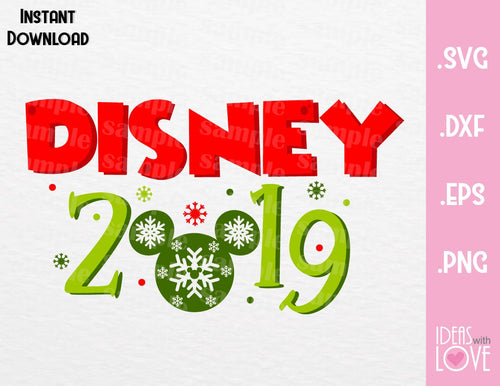 Mickey Ears 2019 Disney Christmas Inspired SVG, EPS, DXF, PNG Format