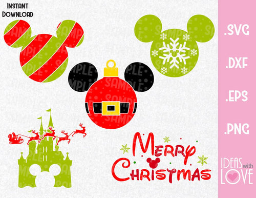 Christmas Mickey Ears Bundle Disney Inspired  SVG, EPS, DXF, PNG Format