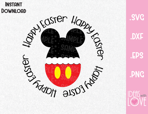 Happy Easter Mickey Ears Egg Inspired SVG, EPS, DXF, PNG