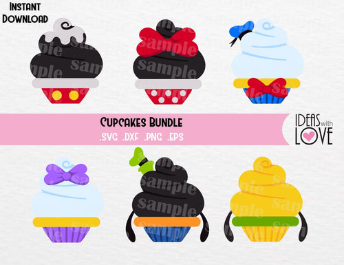 Cupcake Bundle, Mickey, Minnie, Donald, Daisy, Goofy, Pluto, Inspired Cutting Files in SVG, EPS, DXF, and PNG Formats