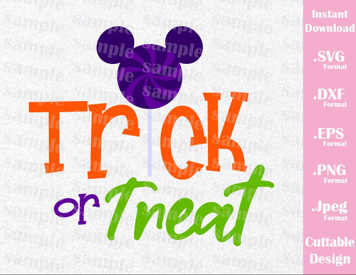 Mickey Ears Quote, Trick or Treat, Halloween Inspired Cutting File in SVG, EPS, DXF, PNG and JPEG Format
