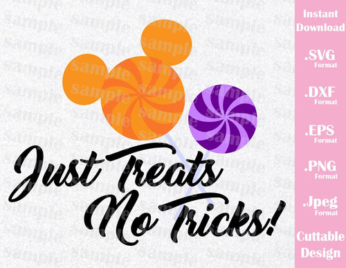Mickey Ears Quote, Just Treats No Tricks, Halloween Inspired Cutting File in SVG, EPS, DXF, PNG and JPEG Format