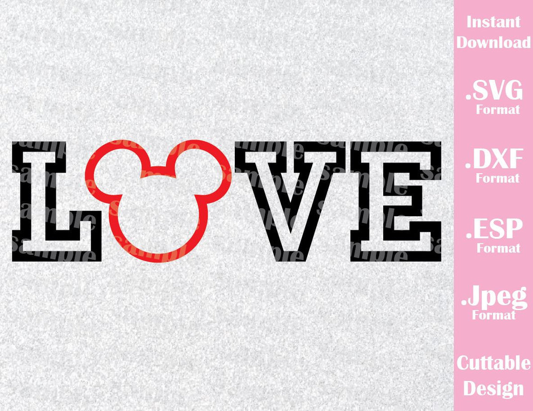 Mickey Ears Love Quote Honeymoon Cutting File in SVG, ESP, DXF and JPEG Forma