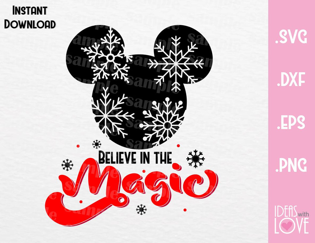 Mickey Ears Believe in the Magic Christmas Inspired SVG, EPS, DXF, PNG Format