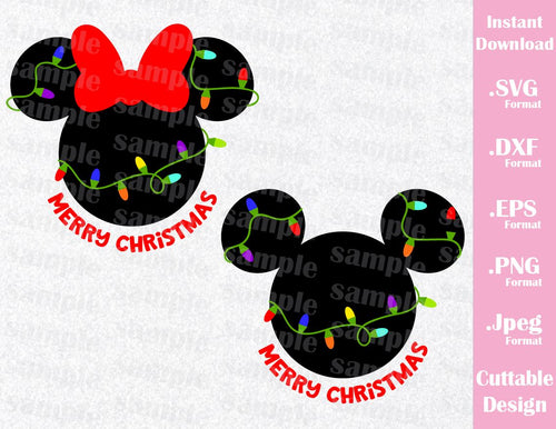Christmas Inspired Mickey and Minnie Ears Cutting File in SVG, ESP, DXF, PNG and JPEG Format