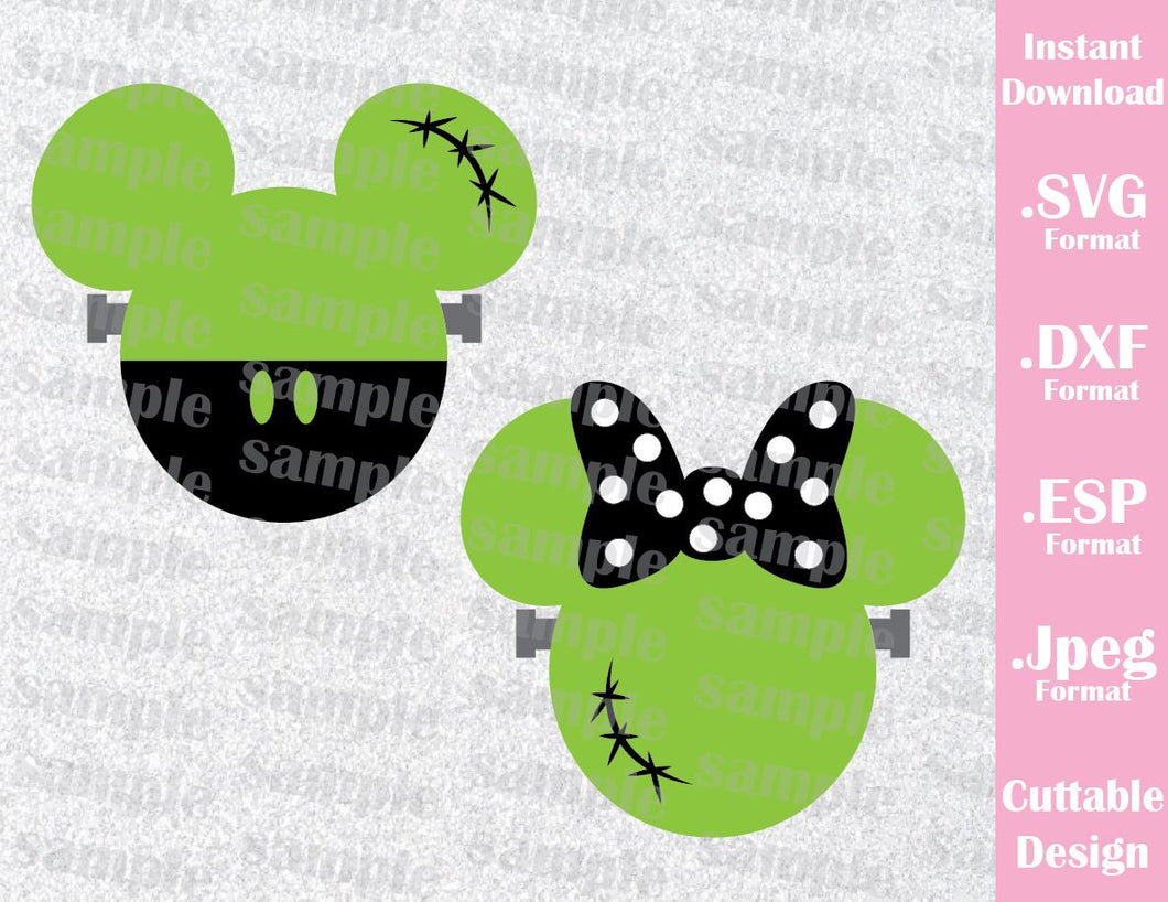 Frankenstein Mickey and Minnie Ears Halloween Inspired Cutting File in SVG, EPS, DXF and JPEG Format