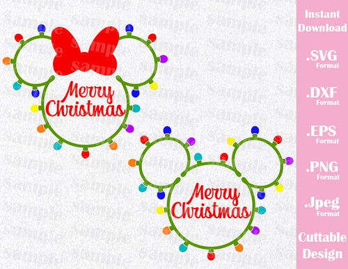 Christmas Inspired Mickey and Minnie Ears Cutting File in SVG, ESP, DXF, PNG Format