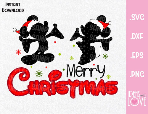 Merry Christmas Mickey and Minnie Inspired SVG, EPS, DXF, PNG Format