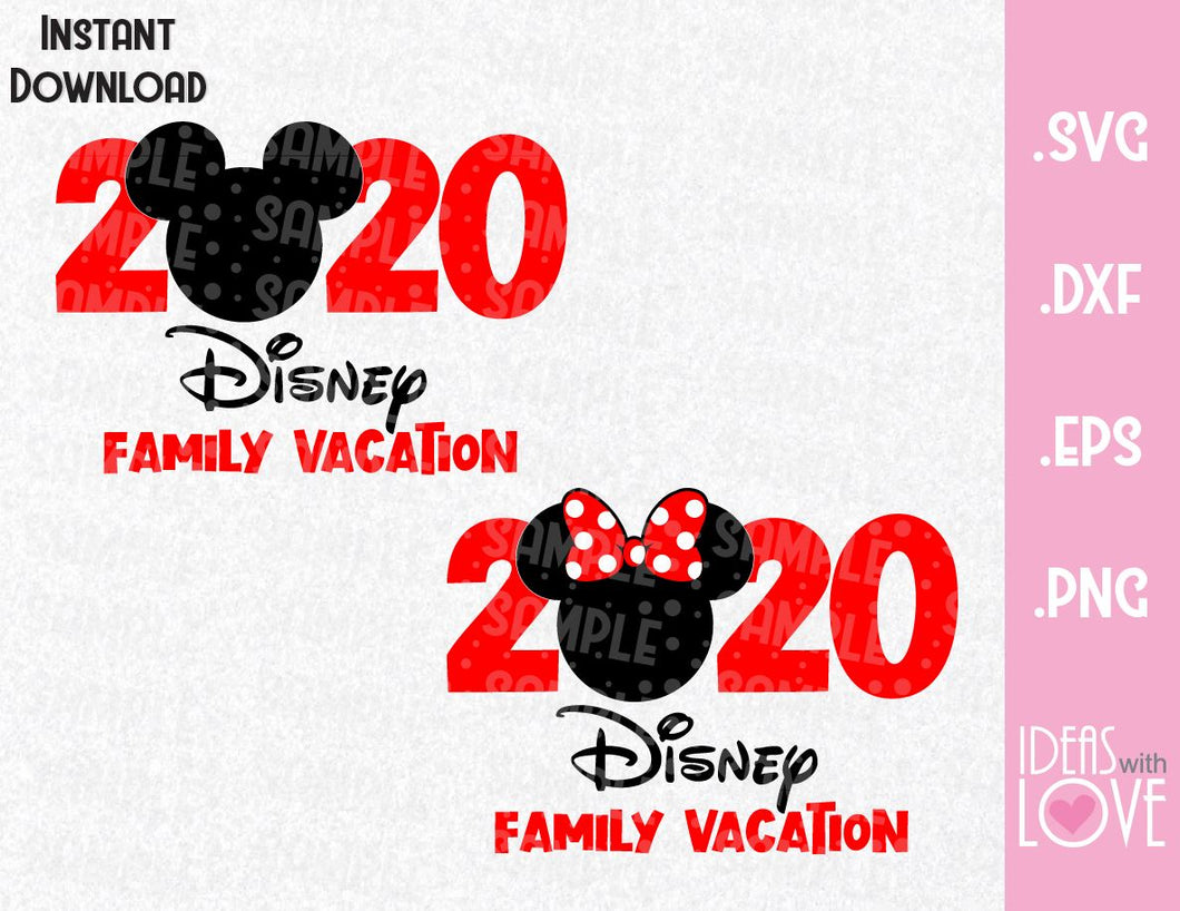 Mickey and Minnie Mouse Ears Disney 2020 Vacation Inspired SVG, EPS, DXF, PNG Format