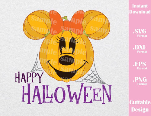 Pumpkin Minnie Ears Happy Halloween Inspired Cutting File in SVG, EPS, DXF and JPEG Format