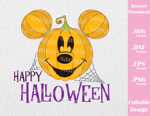 Pumpkin Mickey Ears Happy Halloween Inspired Cutting File in SVG, EPS, DXF and JPEG Format