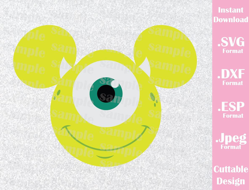 Mike Wazowski Mickey Ears Disney Inspired from Monster Inc. Cutting File in SVG, ESP, DXF and JPEG Format