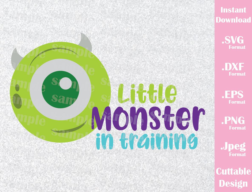 Baby Mike Wazowski, Little Monster in Training Monster Inc Inspired Cutting File in SVG, ESP, DXF, PNG and JPEG Format