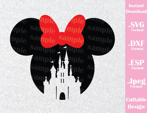 Minnie Mouse Castle Ears Disney Inspired Cutting File in SVG, ESP, DXF and JPEG Format