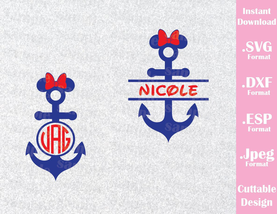 Disney Inspired Anchor Minnie Mouse Name Monogram Cruise Logo Mouse Ears Family Vacation Cutting File in SVG, ESP, DXF and JPEG Format