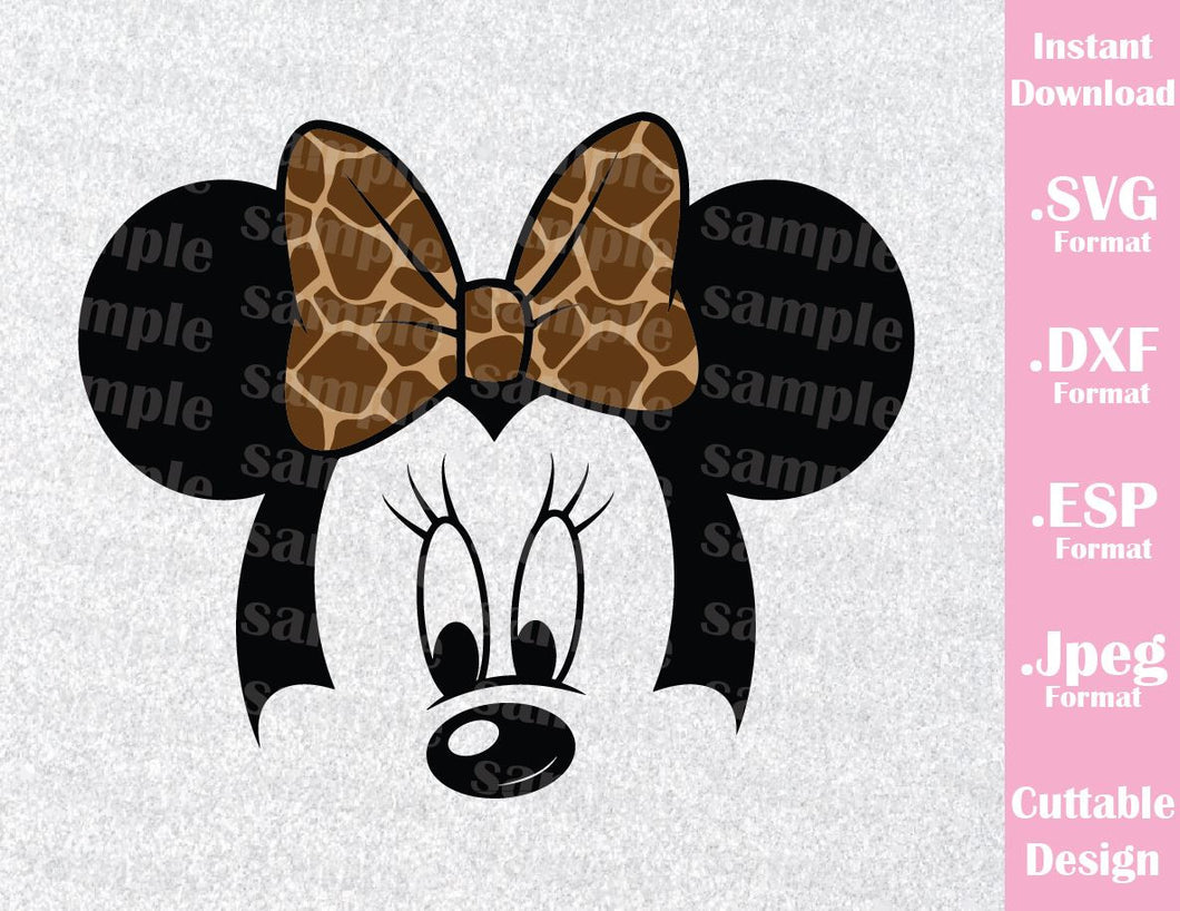 Animal Kingdom Minnie Ears Safari Bow Inspired Cutting File in SVG, ESP, DXF and JPEG Format