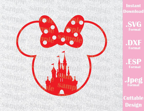 Minnie Mouse Castle Ears Disney Inspired Family Vacation Cutting File in SVG, ESP, DXF and JPEG Format