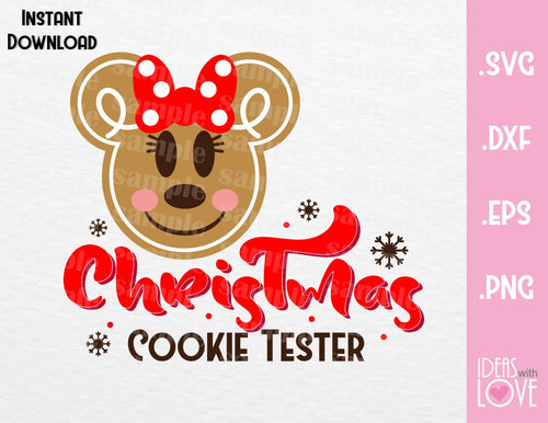 Minnie Ears Christmas Cookie Tester Inspired SVG, EPS, DXF, PNG Format