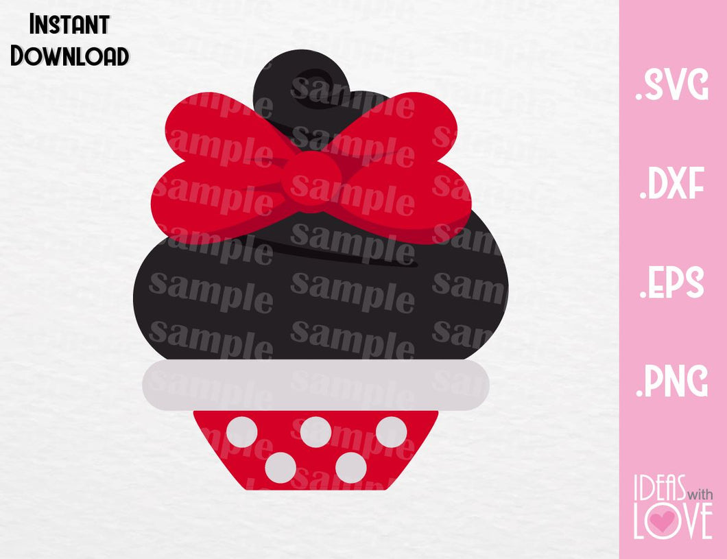 Minnie Mouse Cupcake Inspired Cutting File in SVG, EPS, DXF and PNG Format