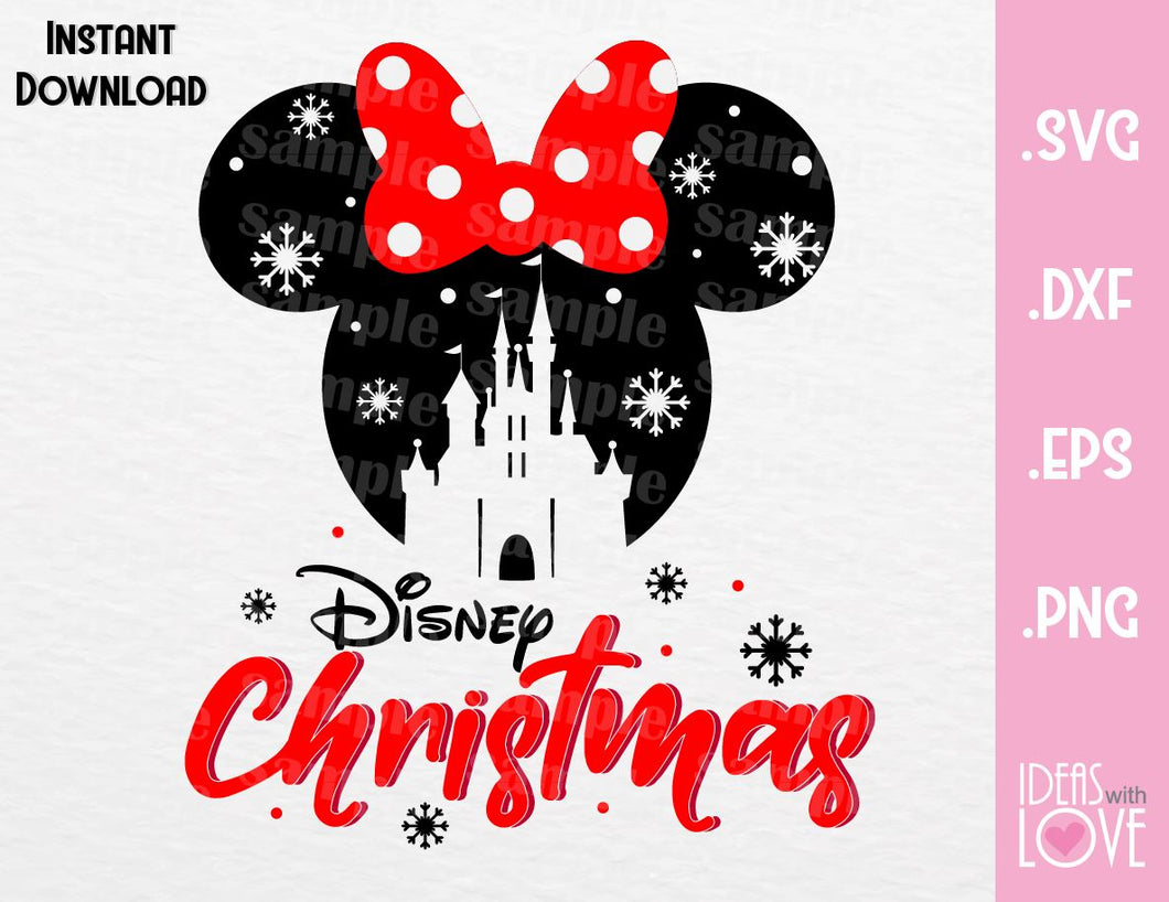Castle Minnie Ears Disney Christmas Inspired Cutting File in SVG, EPS, DXF, PNG and JPEG Format