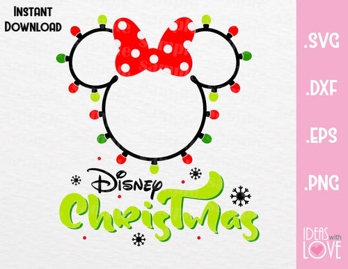 Minnie Ears Disney Christmas lights Inspired SVG, EPS, DXF, PNG Format