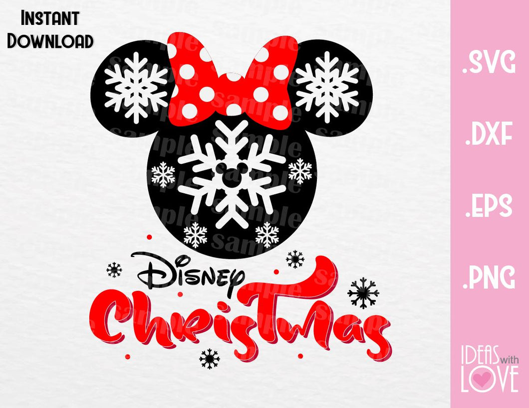 Minnie Ears Disney Christmas Inspired Cutting File in SVG, EPS, DXF, PNG Format