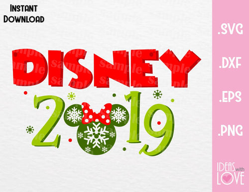 Minnie Ears 2019 Disney Christmas Inspired SVG, EPS, DXF, PNG Format