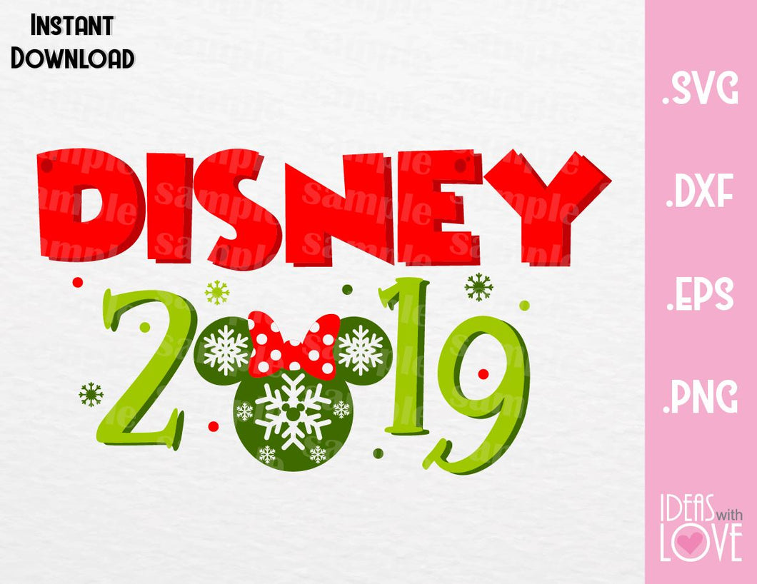 Minnie Ears 2019 Disney Christmas Inspired Cutting File in SVG, EPS, DXF, PNG and JPEG Format