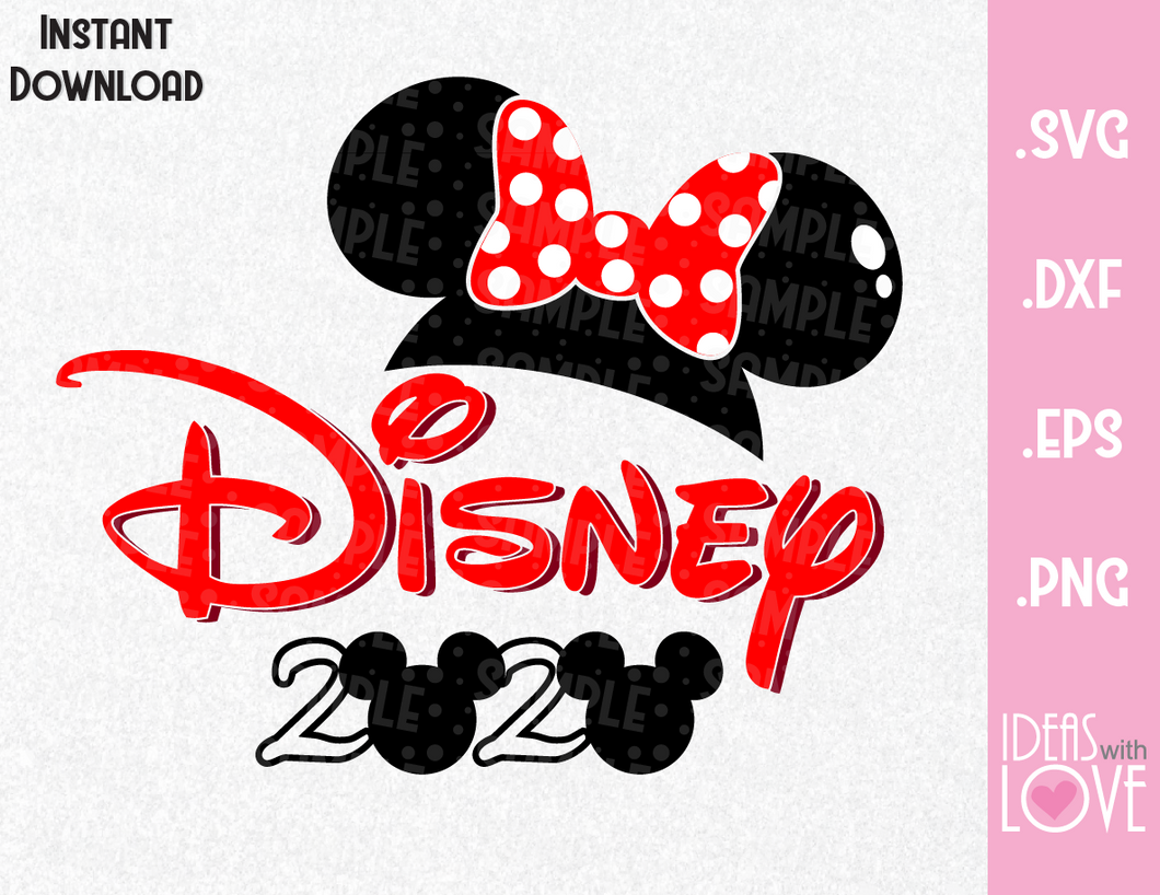 Minnie Ears 2020 Vacation Inspired  SVG, EPS, DXF, PNG Format