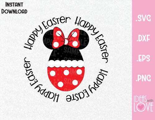 Happy Easter Minnie Ears Egg Inspired SVG, EPS, DXF, PNG
