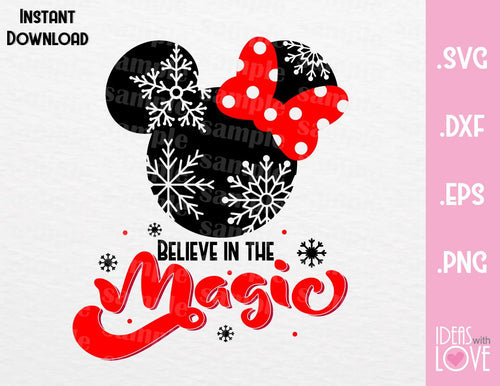 Minnie Ears Believe in the Magic Christmas Inspired SVG, EPS, DXF, PNG Format