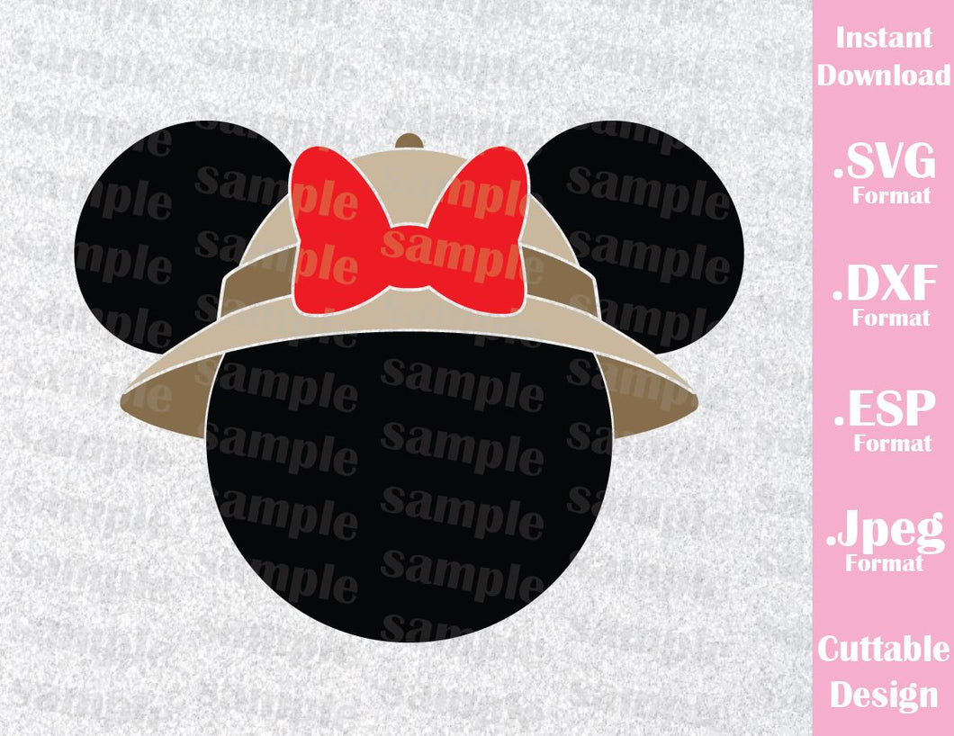 Animal Kingdom Minnie Ears Safari Hat Inspired Cutting File in SVG, ESP, DXF and JPEG Format