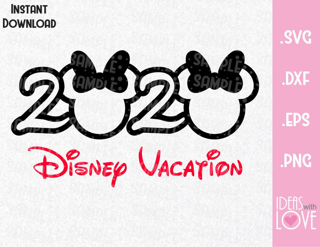 Minnie Ears 2020 Family Vacation Inspired SVG, EPS, DXF, PNG Format