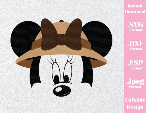 Animal Kingdom Minnie Mouse Ears Safari Disney Inspired Family Vacation Cutting File in SVG, ESP, DXF and JPEG Format