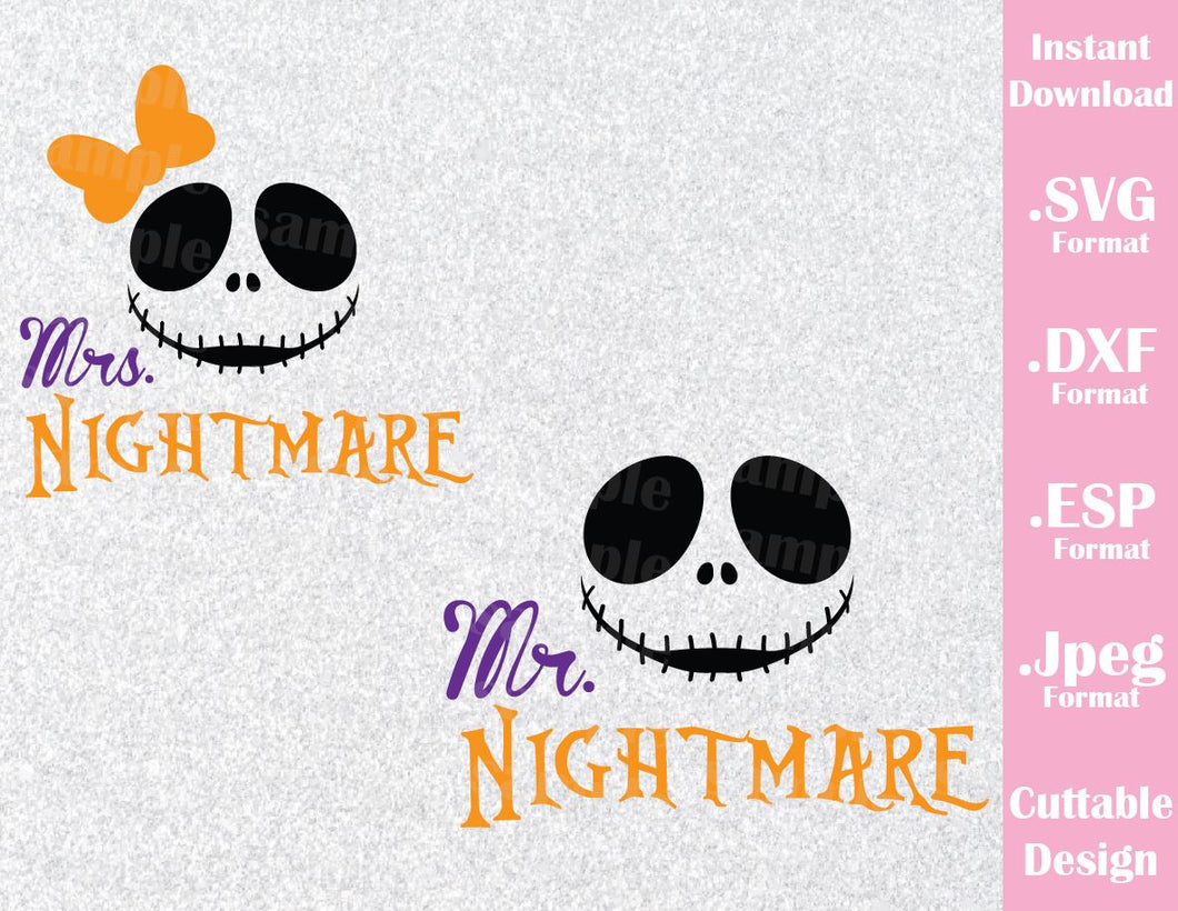 Jack Mr and Mrs Nightmare Couple Halloween Inspired Cutting File in SVG, EPS, DXF and JPEG Format