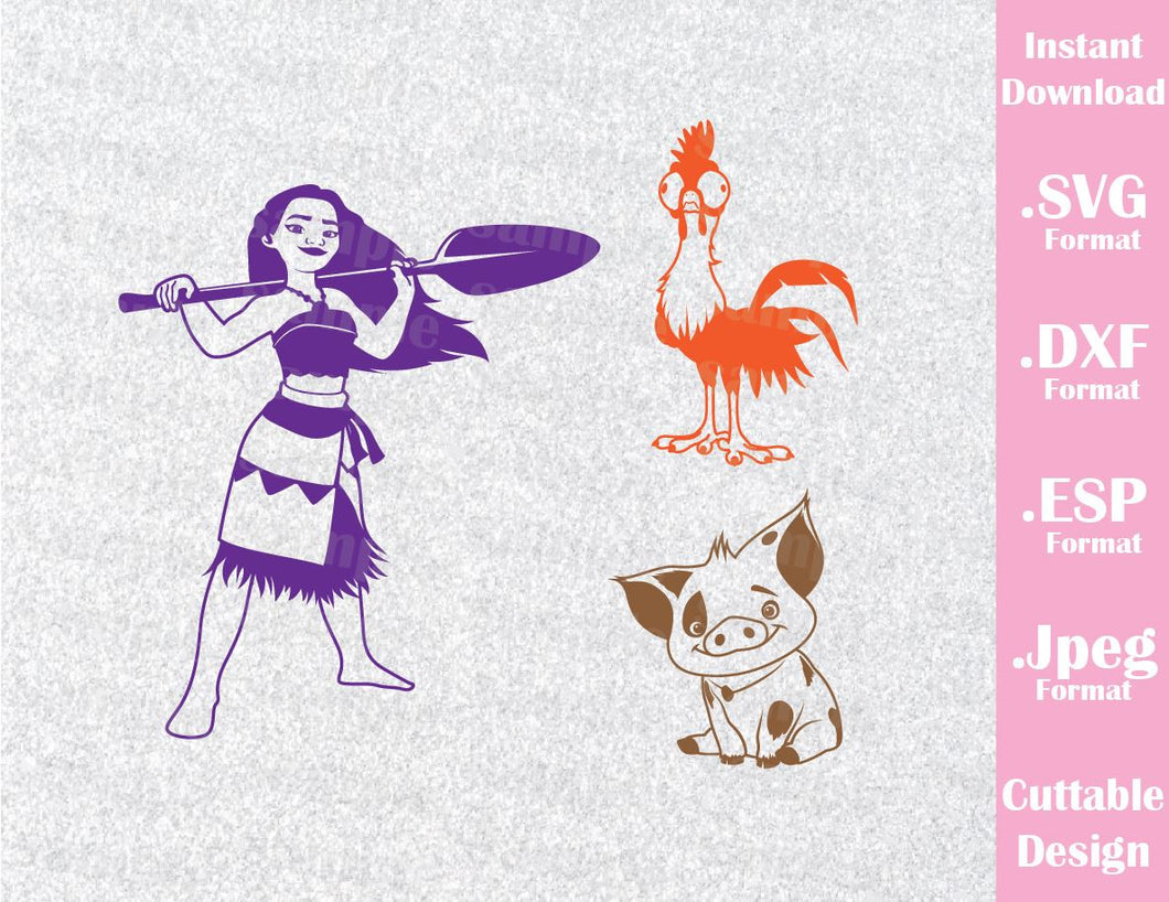 Princess Moana Pua HeiHei Disney Inspired Cutting File in SVG, ESP, DXF and JPEG Format