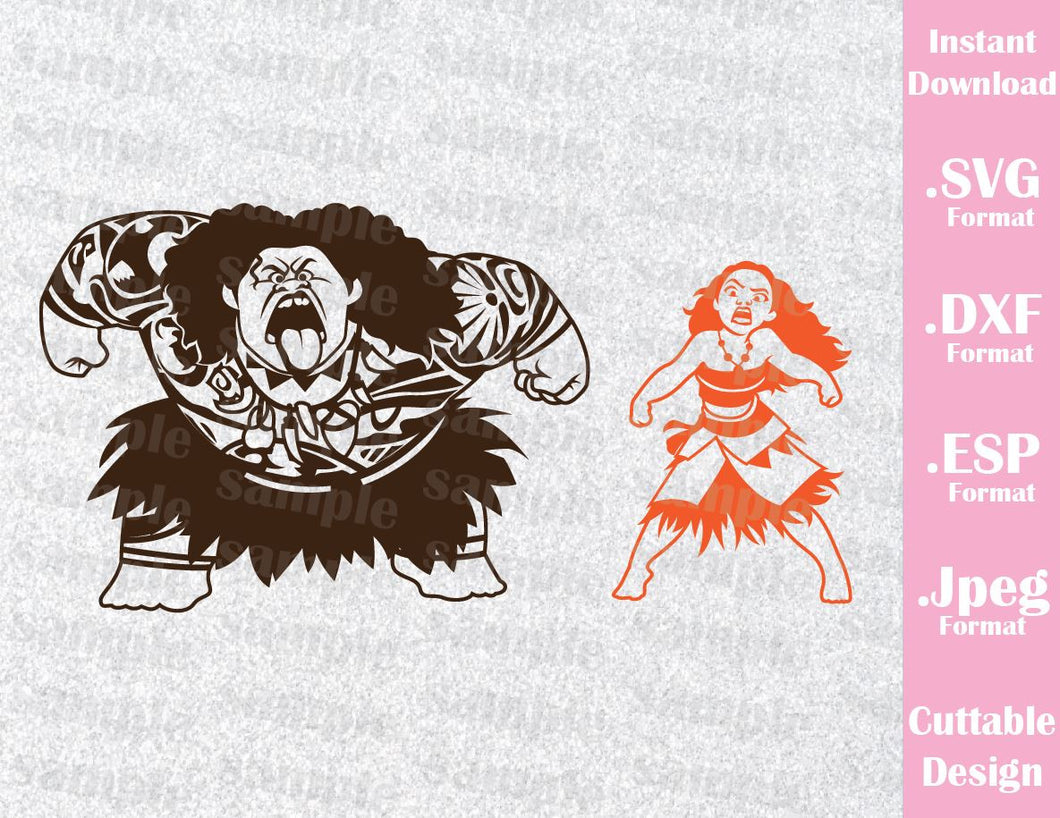 Princess Moana and Maui Inspired Cutting File in SVG, ESP, DXF and JPEG Format