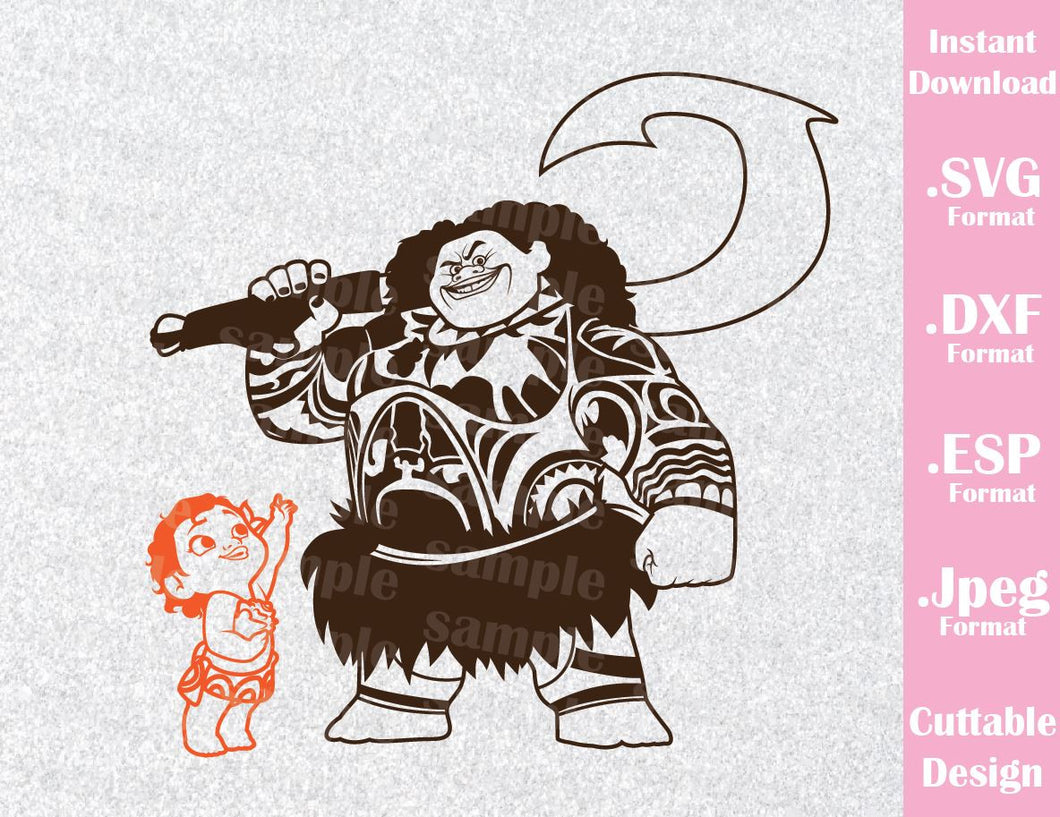 Princess Moana Baby and Maui Disney Inspired Cutting File in SVG, ESP, DXF and JPEG Format