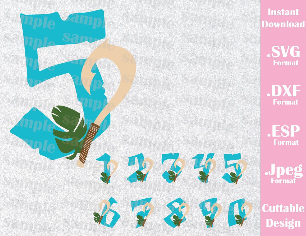 Maui from Moana Numbers Birthday Boy Inspired Cutting File in SVG, ESP, DXF and JPEG Format