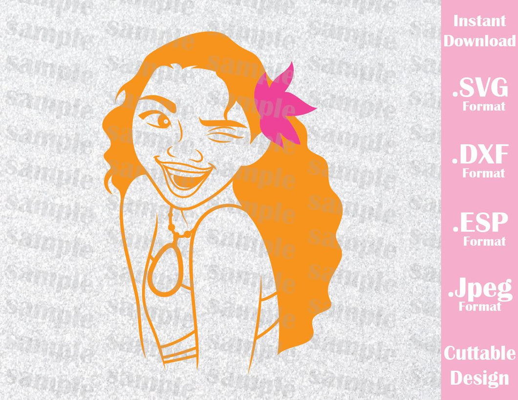 Princess Moana Ocean Girl Inspired Cutting File in SVG, ESP, DXF and JPEG Format
