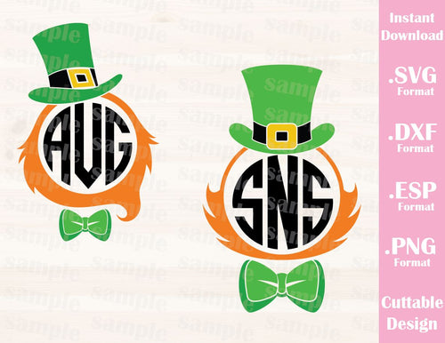 St. Patrick's Day Design for Monograms (Font not included), Cutting File in SVG, ESP, DXF and PNG Format for Cricut and Silhouette